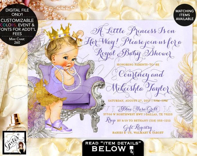 Lavender and Gold Baby Shower Invitations, Gold Crown, Princess Baby Girl Vintage Invites, Printable, Digital File Only! Gvites