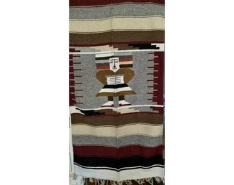 Vintage Mayan Blanket,Mayan Wall Tapestry,LARGE,Serape,BOHO,Mexican Blanket,Fringe,Wool Throw,Mayan Idol,Woven Textile,Aztec Wall Hanging