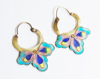 Early Laurel Burch Enamel on Silver Flower Gilt Hoop Earrings Vintage Boho 1970s Cloisonne Asian