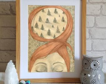 Whimsical Art Print - Illustration  of girl - Wall Art Print - Bedroom wall Idea - Surreal Art Print - Girl Drawing - dream art
