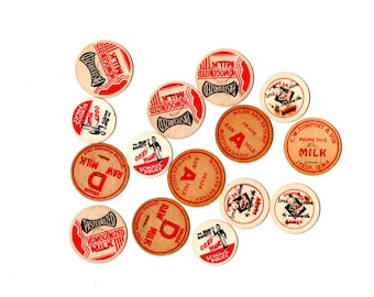 15 Vintage Red and Black Milk Caps - Vintage Paper Ephemera, Mixed Media, Altered Art, Assemblage, Travel Journal, Collage, Craft Supplies