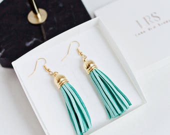 Leather Tassel earrings, Gold Wire Dangle Earrings, Faux Suede Earrings, Subtle white tassel earpieces, Small custom faux leather gift