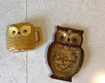 Owl Duo- 2 1960's Owl Ceramic Kitsch Decor Items