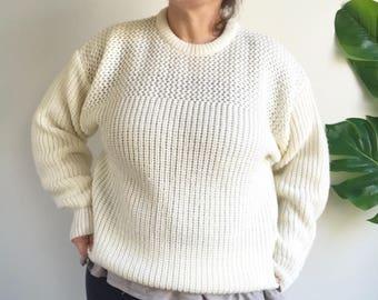Vintage 80's Off White Oversized Sweater Acrylic Size Large