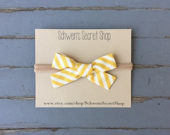 hand tied bow, baby girl bow, baby girl headband, nylon headband, baby hair bow, school girl bow, baby bow headband, infant headband