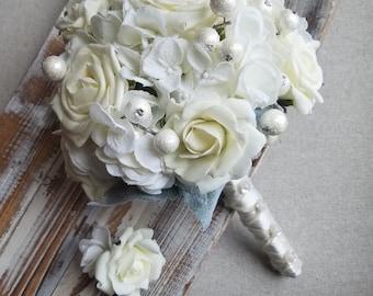 Winter Wedding Bouquet / Hydrangea And Rose Bouquet
