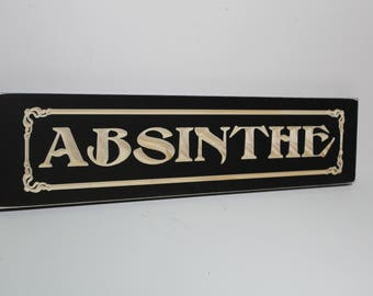 Absinthe Sign Carved in Wood with Art Nouveau Detail and Antiqued Finish