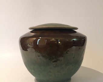 Green and Brown Lidded Vessel