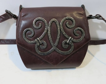 Paloma Picasso Purse Long strap Wine Leather Pewter accents