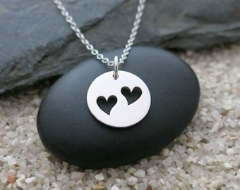 Two Hearts Necklace, Sterling Silver Heart Charm, Love Jewelry