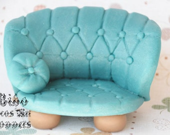 Edible 3D Vintage Leather Sofa with Cushion Cake Decoration Fondant Topper , Vintage Theme Birthday Party , Sofa Cake Topper