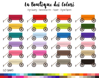 50 Rainbow Toy Wagon Clipart, Cute Digital graphics PNG, cart, pull wagons, handwagon Planner Stickers Commercial Use