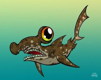 Hammerhead Shark 8x10 Print