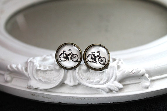 Bike bicycle earrings sweet lolita feminine stud post black white cyclist