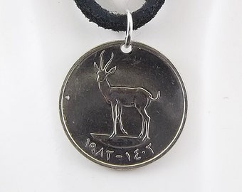 Arab Coin Necklace, Gazelle, 25 Fils, Mens Necklace, Womens Necklace, Coin Pendant, Leather Cord, Birth Year, 1982