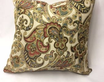 Red, Blue, Gold, Green Paisley Print Pillow Cover
