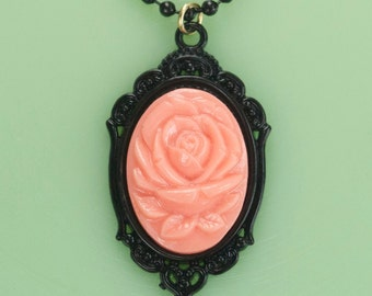 Pink Rose Cameo Necklace with Black Setting