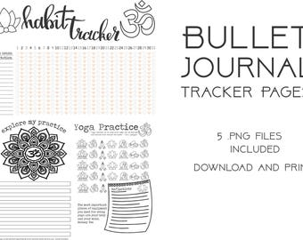 Downloadable Bullet Journal Yoga Themed Tracker pages
