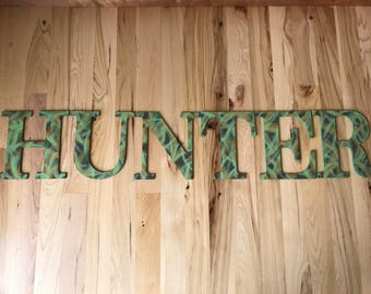 Custom, hand painted camouflage wood name sign; camo nursery letters; camo name sign; camouflage baby letters; camouflage wall letters