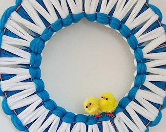 Macrame Easter Wall Hanging Wreath Chicks Egg T-shirt Yarn in Teal and White Blue Yellow