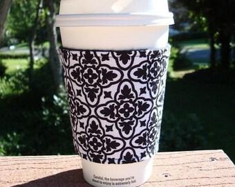 Fabric coffee cozy / cup holder / coffee sleeve / coffee koosie / mason jar cozy - Elegant Black on White Damask
