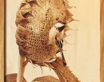 Chickadee on a Sunflower Woodburning Art