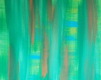 Vert, Orange, bleu, jaune Original acrylique peinture abstraite sur toile» série 6 XXVIII «Design d'intérieur, Art mural, Art moderne
