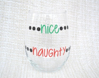 Christmas wine glasses, nice and naughty, He Sees You When You're Drinking, Funny Christmas Gift, unique gift, gift ideas, best seller