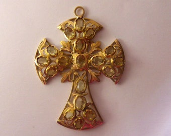 Spanish cross in gold 14ky citrines-exclusive design
