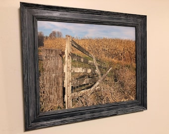 Rustic Photo of a Fence in Southern Indiana in a Wooden Frame