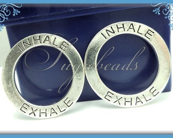 4 Antiqued Silver Inhale Exhale Circle Charms, Inhale Exhale Charms, Yoga Charms, Circle Charms 30mm PS182