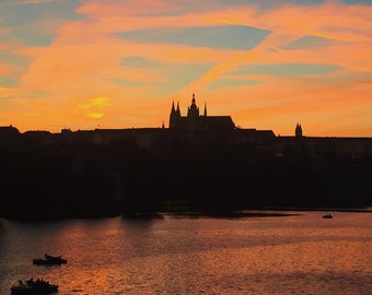Prague Castle at Sunset Photo or Metal Print