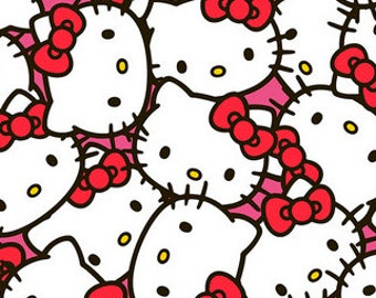 Hello Kitty Licensed Cotton Fabric REMNANT - Free Shipping