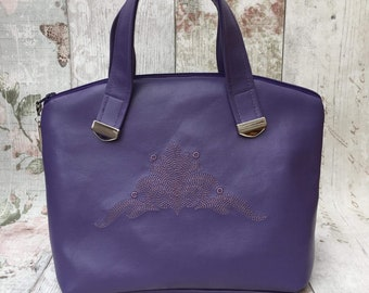 Purple Faux Leather Handbag, Leather Look Bag, Purple Handbag, Ladies Handbag, Gifts For Her.