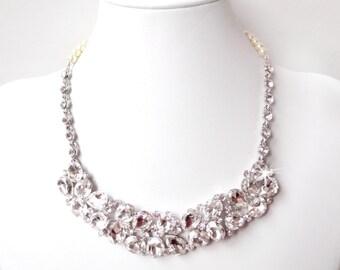 Necklace - Posh Rhinestone Bib Necklace - Ivory or White Pearls - Vintage Style - Statement Bridal Necklace -Crystal Bib Necklace