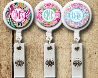 Preppy Badge Reel, Lilly Inspired Badge holder, Retractable badge reel, Monogram Gifts, ID Holder, Monogram Badge Holder