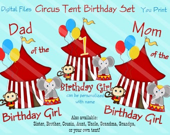 Circus Tent Family Birthday Set Printable Digital Downloads for iron-ons, heat transfer, T-Shirt, Totes, Bags,Scrapbooking,  YOU PRINT
