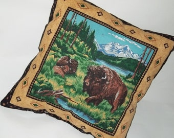 Buffalo Pillow Cover Bison Cushion Handmade in USA Pillow Cotton American Vintage Wildlife Use for Travel Sports Office Decorative Home Case