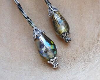 Long Lampwork Earrings Slightly Asymmetrical jewelry