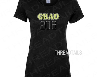 GRAD 2018 Top | Graduation Gift for Her | Rhinestone Glitter Shirt |  Sparkly Tee for the Class of 2018