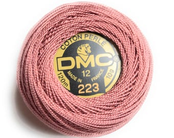 DMC 223 Light Shell Pink Perle Cotton Thread Size 12