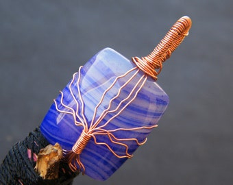 Blue Agate Pendant Copper Wire Wrapped Gemstone Pendant Handmade Wire Wrapping Pendant Jewelry