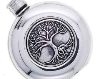 3 oz  round flask Tree of Life  -Hand Made and Design in UK