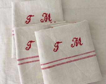 NTT 1403 Red Stripe Tea towel  Linen for with 'JM' Monogram