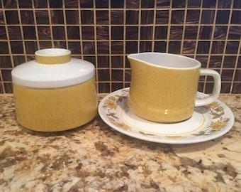 Vintage Mikasa Mediterrania Creamer, Saucer & Sugar Bowl set Caracas Empire Gold 4008 4994 Yellow Green Floral