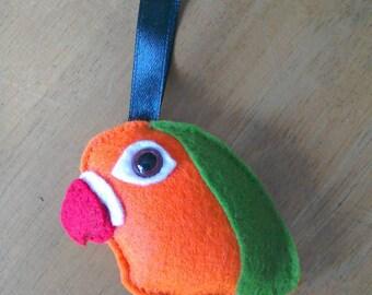 Felt love bird Christmas bauble