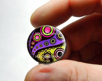 Glass Cabochon - Art Deco Floral Design 4 - for Jewelry and Pendant Making