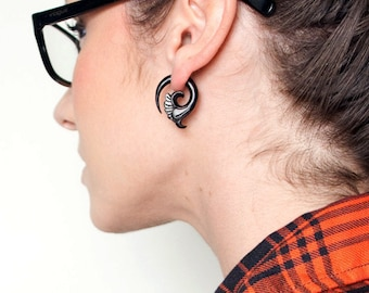 Fake Gauges, Fake Plugs, Handmade Horn Earrings, Tribal Style - Fiaha Spirals