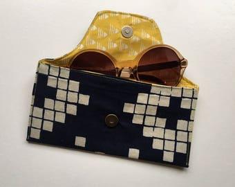Glasses Case sunglasses pouch snap cotton linen