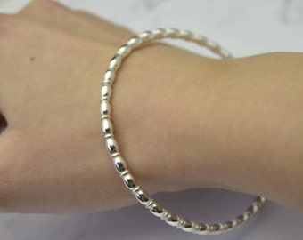 Oval Beaded Profile Solid Silver Ladies Bangle Bracelet